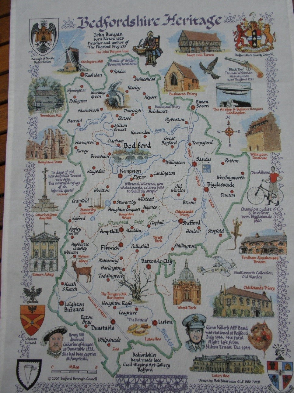 tea towel with Bedfordshire map
